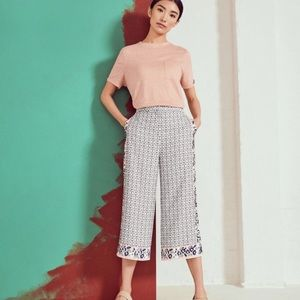 NWT Ted Baker Mid Gray Geo Pattern Cropped Pants